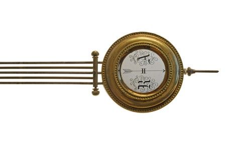 the pendulum (detail) of age-old mechanical clock isolated on a white background Stock Photo - 4370745