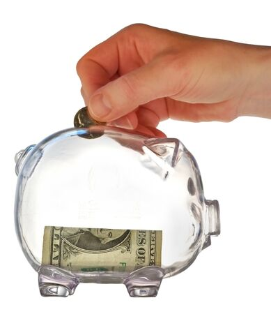 money box in form transparent plastic pig Stock Photo - 4370704