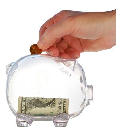 money box in form transparent plastic pig Stock Photo - 4370696