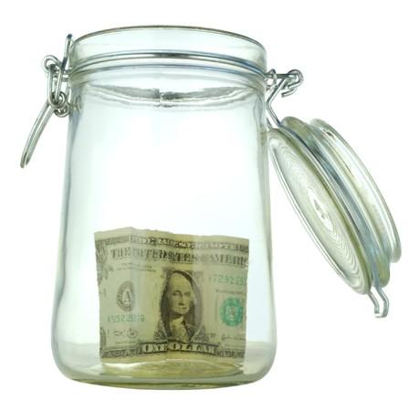 money box in form transparent glass jar Stock Photo - 4370702
