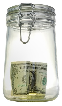 money box in form transparent glass jar Stock Photo - 4371295