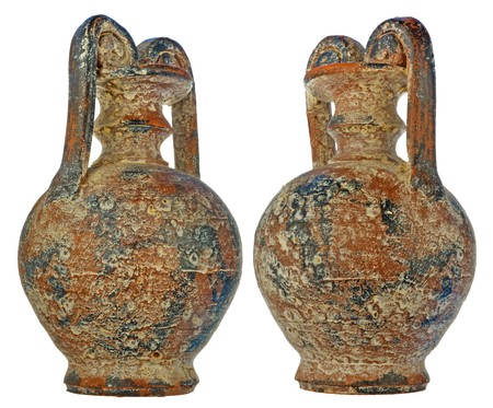 loamy: age-old amphora with bloom of salt and gypsum in a brown color