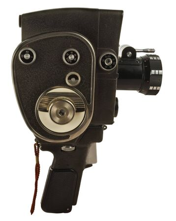 Old movie camera with lens close up photo