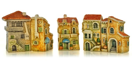 small town, consisting of toy cottages in European style. photo