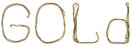"joyas de oro: oro chainlets se construyen en forma palabra ""ORO"""