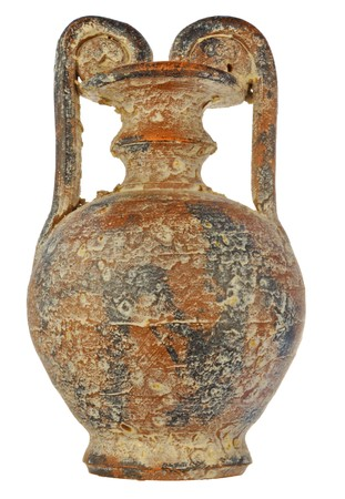 age-old amphora with bloom of salt and gypsum in a brown color photo