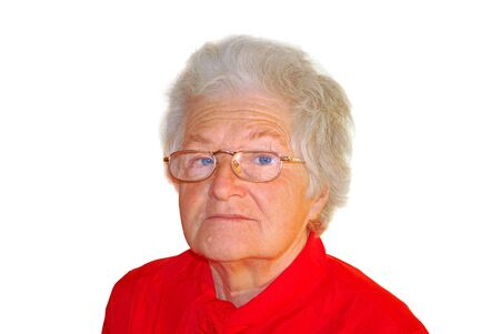 a portrait of elderly woman is in red Stock Photo - 4534011