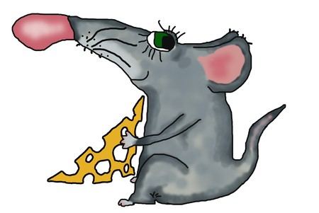starve: picture of mouse, holding the piece of cheese