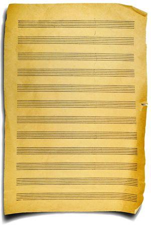 fragmento de la página de edad con la música las notas, trasfondo emocional Foto de archivo