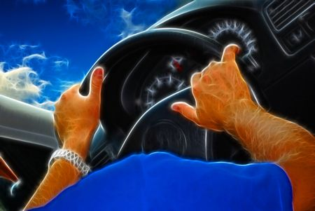detail of car, modern design and Male hands on a rudder of the car photo