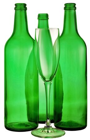 bottle from green glass and wineglass  on white photo