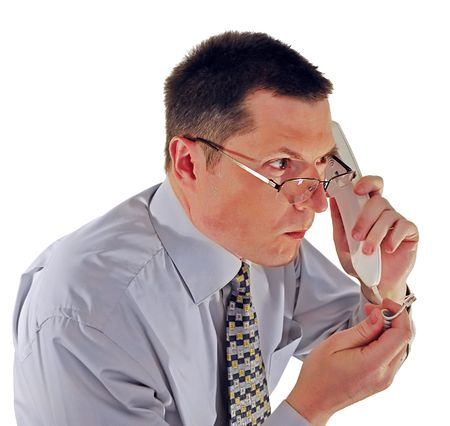 portrait of man in glasses with a telephone Stock Photo - 4869356