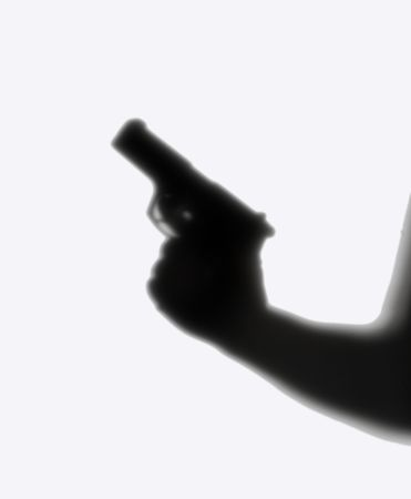 hoodlum: shade of man in a cap and with a pistol on a white background