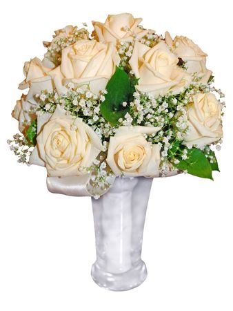 fiancee: bouquet of fiancee, roses of cream (beige) color Stock Photo