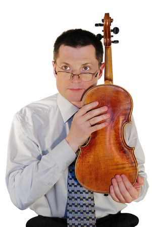 assertion:  man with a age-old violin, isolated on a white background