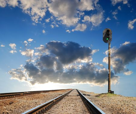 leavings: leavings far ways of railway on a background artistic horizon Stock Photo