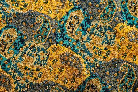 tessile: vegetali pattern decorativi in stile indiano su tessuto Archivio Fotografico