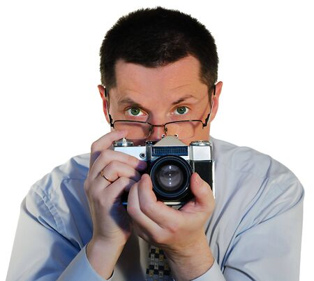 assertion: photographer with a old photocamera close up Stock Photo