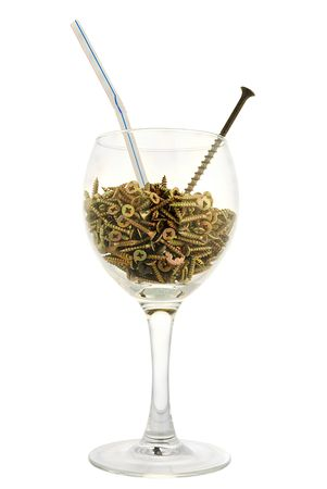 affix: group of brass  screws in one wineglass