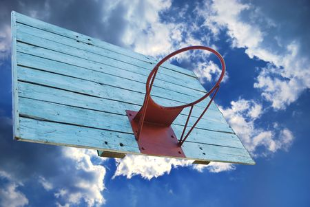Basketball hoop without net in grunge style Stock Photo - 5537113