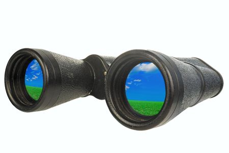 indecent: black binoculars by CU on a white background