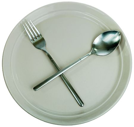 Dishware: empty kitchen plate, fork, spoon photo