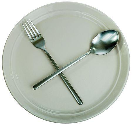 Dishware: empty kitchen plate, fork, spoon photo