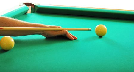 billiards, hand with a cue and ball of billiards Stock Photo - 5773537