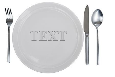 empty kitchen plate, fork, spoon and table-knife Stock Photo