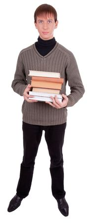 role model: young student with books  on white background Stock Photo