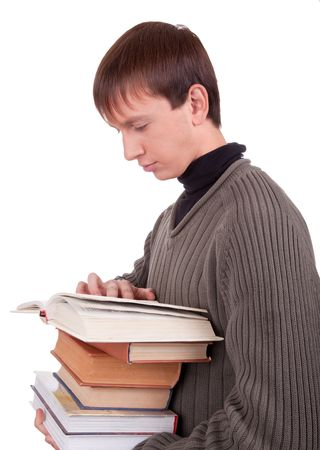 young student with books  on white background photo