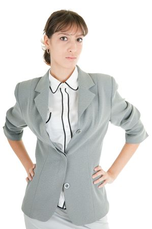 young girl in a gray business suit on white background Stock Photo - 6060073