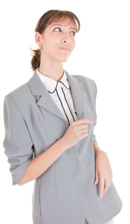 woman in business clothing listen on white Stock Photo - 6063310