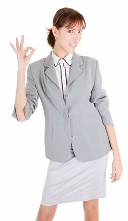 woman in business clothing show OK sign Stock Photo - 6063398