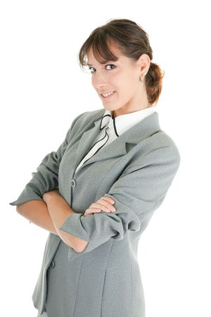 young girl in a gray business suit on white background Stock Photo - 6063327