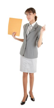 young girl in a gray business suit on white background Stock Photo - 6060077