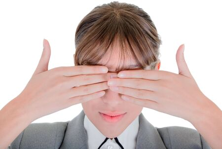 woman closes her eyes with his hands photo
