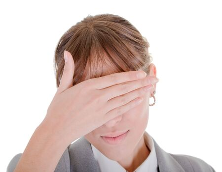woman closes her eyes with his hands Stock Photo - 6063369