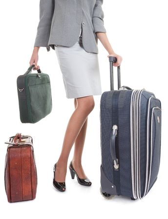 business woman  with a luggage on white background photo