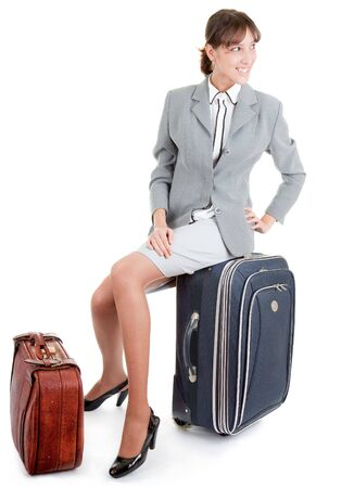 business woman  with a luggage on white background Stock Photo - 6063274