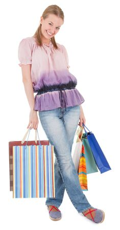 young girl with purchases on white background Stock Photo - 6062362