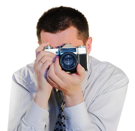 assertion: photografer with a old photocamera close up Stock Photo