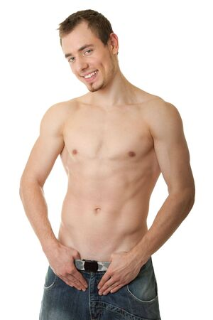 young man - sportsman with a bare torso Stock Photo - 6170497