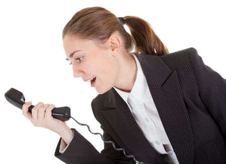 emotional woman: emotional woman in business clothing with a telephone