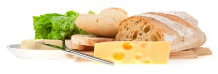 butter knife: still life: table knife, lettuce, bread, cheese and butter