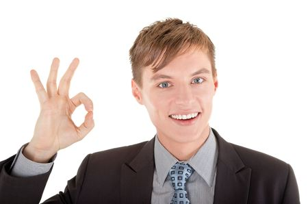 man in business clothing show OK sign Stock Photo - 6631260