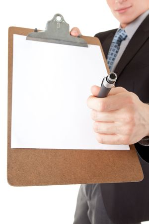 assertion: portrait friendly business man with a folder