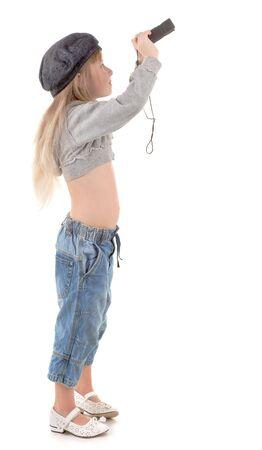 Friendly girl - tourist  in walking clothing on white photo