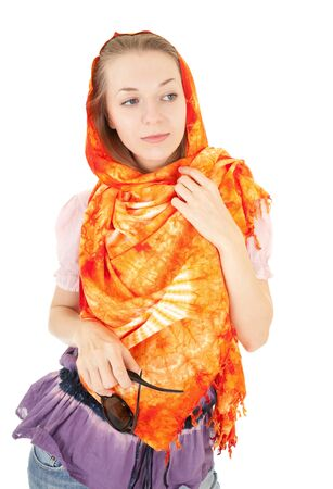 young girl with a  orange shawl and sunglasses photo