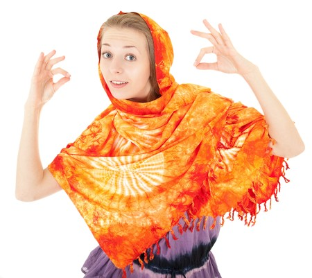 young girl with a  orange shawl and gesture OK photo